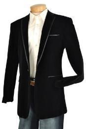 Black Velvet velour Blazer Jacket Trim Lapel Tuxedo Looking