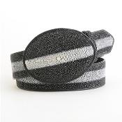 Authentic Genuine Real Black Stingray Rowstone Belt