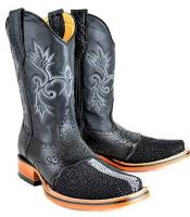 King Exotic Rodeo Full Pearl Stingray mantarraya skin Boot Black