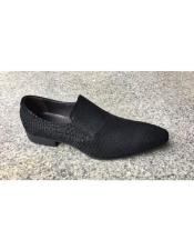 Mens Genuine Suede Soft Genuine leather Slip-On Black Tiger pattern Stylish Dress