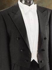 Dress 100% Wool Fabric Super 150S Tuxedo Tailcoat In Black Color Peak Lapel or Notch Collar or