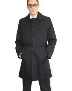 Coat Black Belted Long