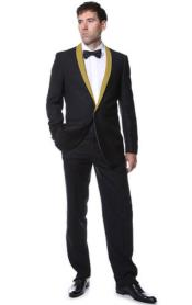 Black With Gold Shawl Collar Tuxedo