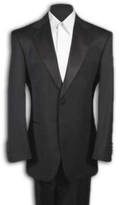 Mens Black Tuxedo 1 One Button Notch Tuxedo Suit