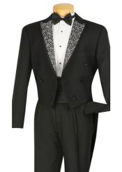 4 Piece Tuxedo Black  Tuxedo Jacket with the tail suit