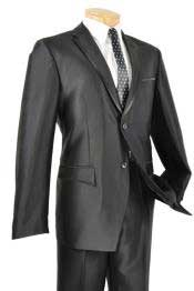 Black Shiny Two Button Fitted Skinny Fit Cheap Priced Business Suits