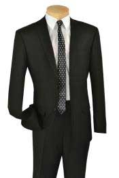Solid Black Italian Style Two Button Slim Cut Cheap Priced Business