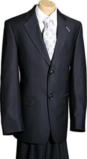 Button Black Ultra Thin Pinstripe Boys Designer Suit