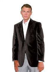 Velvet Blazer Sport Jacket For Men Black