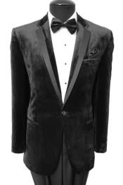 Velvet Velour Mens blazer Sport Coat Two Button Jacket With Black Trim Black