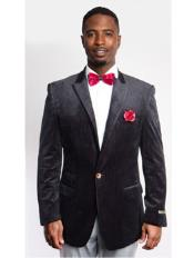 Black Fashion Peak Lapel Velvet Sport Coat