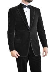 Black Velvet Tuxedo~Velour 2 Button Suit With Trim Jacket ~ Blazer ~ Sport Coat + Pants