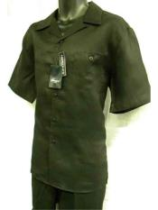 Mens 2 Piece Linen Short Sleeve Black Casual Big Size Casual Two Piece Walking Outfit For Sale