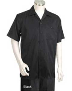 Short Sleeve 2piece Casual Walking Suit Black