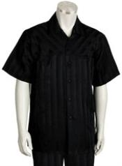 Short Sleeve Black 2piece Casual Walking Suit