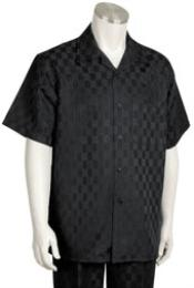 Short Sleeve 2 piece Casual Walking Suit Black Checker