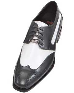 Mens Charcoal Gray-Silver Two Tone Dress Shoe Oxford: Wingtip
