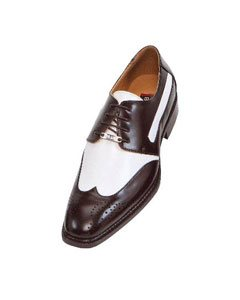 Brown and White Mens Two Tone Dress Shoes Oxford: Wingtip