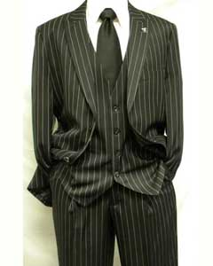 Black and White Gangster Bold PinStripe Mars Vested 3 Piece Fashion Suit Pleated pant