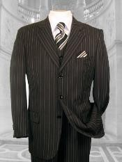 BLACK W/ WHITE PINSTRIPE EXTRA FINE SUPER 120S Cheap Priced Business