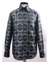 Mens High Collar Black White Fancy Pattern Shiny Shirts Night Club Outfit