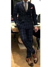Black and White Window Pane ~ Plaid Double Breasted Wool Suits