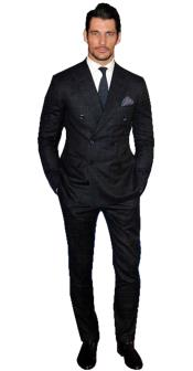 Alberto Nardoni Brand Mens Black Window Pane Double Breasted Suits Wool Suit