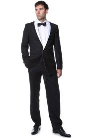 Mens Two Toned Black With White Lapel 1 button Suit Shawl Collar