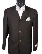 Mens Single breasted Black Blazer 100% Wool 3 Button Classic Fit Blazer