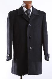 DRESS COAT SINGLE BREASTED WOOL CASHMERE 3/4 LENGTH BLACK WINTER COAT