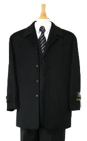 coat Luxurious high-quality Woo&Cashmere half-length notch lapel Mens Dress Coat Jet Black Carcoat ~ Peacoat