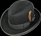 MENS BLACK 100% Wool Homburg Mens Dress Hats