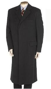 Dress Coat Full Length Solid Black Overcoat Wool Blend Single Breasted