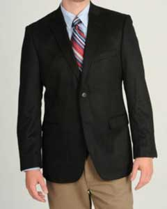Charles Mens Black Wool & Cashmere Blend Sportcoat