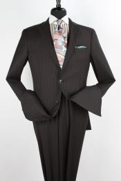 Mens 2 Piece 100% Wool Executive Suit - Notch Lapel Black with Light Grey Stripe ~ Pinstripe