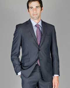 Slim Fit Black Blue Stripe ~ Pinstripe Wool and Silk Blend