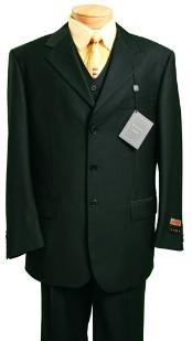 Mens Fashion three piece suit in Super 150s Luxurious Wool Feel Black