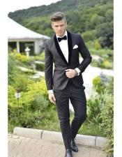 Velvet Lapel Super Fine Wool Suit Or Tuxedo Shawl Collar Or Notch Lapel Black