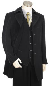 Button Fastener Trench Collar Black Zoot Suit