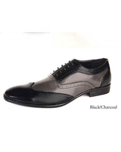 Wingtip Two toned lace up dress shoes Black