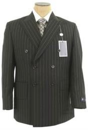 Jet Black & White Pinstripe Double Breasted Suits Comes in 3 Colors