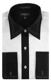 Toned Lay Down Collar Microfiber Design Two Tone Stitched Regular Fit Black and White Mens Dress Shirt