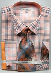 Ellissa Graph Checker French Cuff Set Black/Orange Mens Dress Shirt
