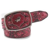 Exotic Black & Red Belt Genuine Caiman Leather