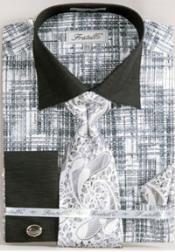 Tone on Tone French Cuff Set Black/White Mens Dress Shirt