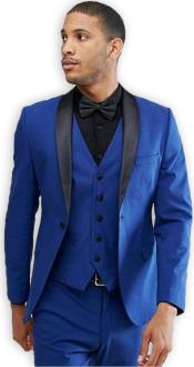 Blue 1 Button Shawl Lapel  Slim Fit Vested Suit
