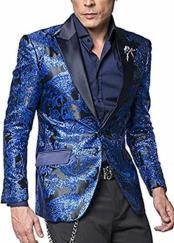 Mens Royal Blue Paisley Pattern 2 Button Satin Peak Lapel Fashion Sport Coat
