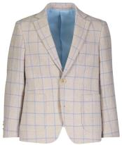 Boys Plaid Designed Single Breasted Blue checkered check pattern suit Linen Blazer