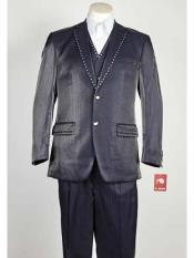 Mens 3 Piece Blue Sharkskin Rhinestone Entertainer Suit