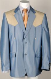 Vaquero Polyester Western cowboy Mens (Blue/Bone Ostrich) Suit Set